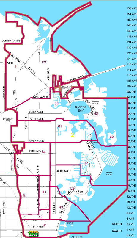 Saint Petersburg Fl Zip Code Map.St Petersburg Fl Police Department Districts Zones Neighborhood Map